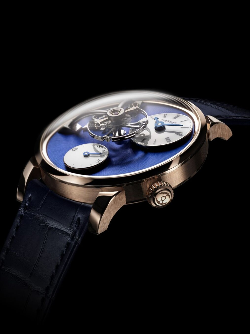 Legacy Machine 101 rose gold blue dial domed glass